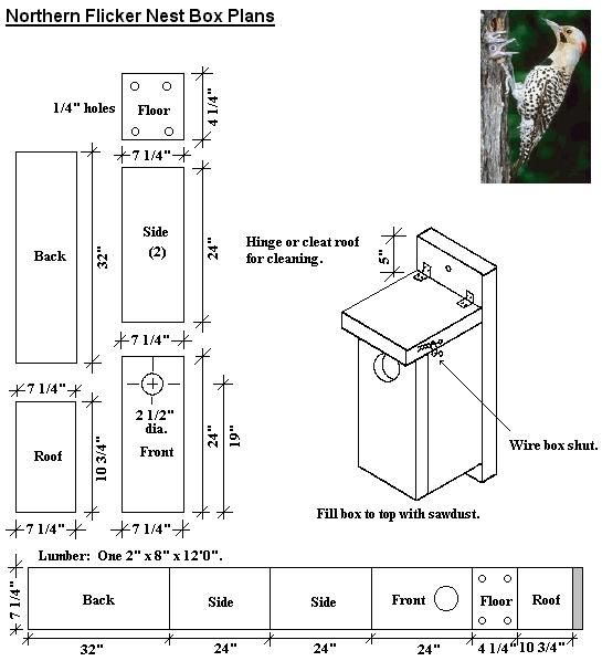 Simple bird house plans Northern Flicker - from 1 piece of wood