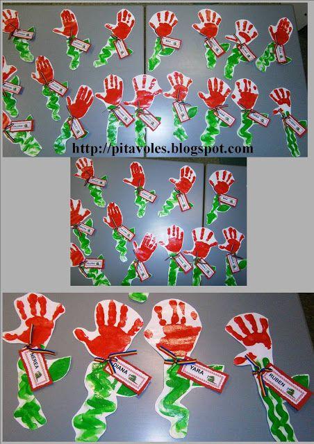 Roses de Sant Jordi fetes per nens de 2 a 4 anys. Amb les mans pintades de vermell farem els pètals i amb el dit farem la forma de la tija. Després amb un paper posarem el nom de cada alumne.
