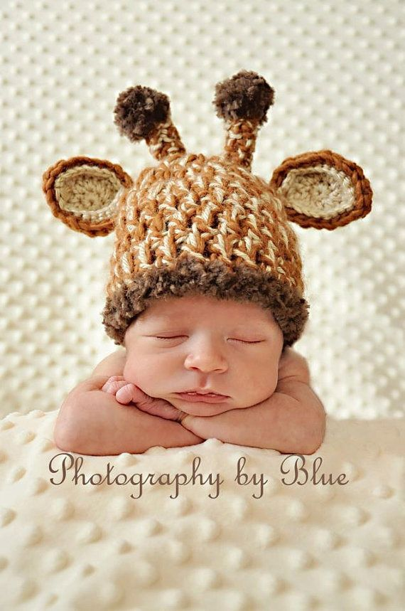 Newborn Baby Crochet Giraffe Hat Photo Prop.