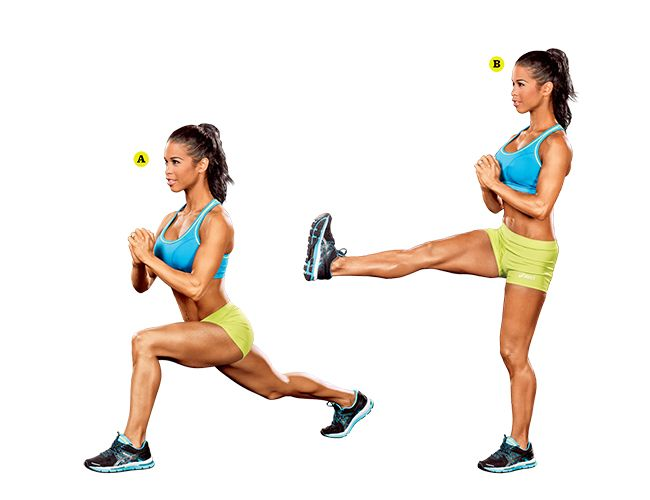 Try this reverse lunge and kick exercise, demonstrated by IFBB Pro India Paulino to work your abs, legs, and butt