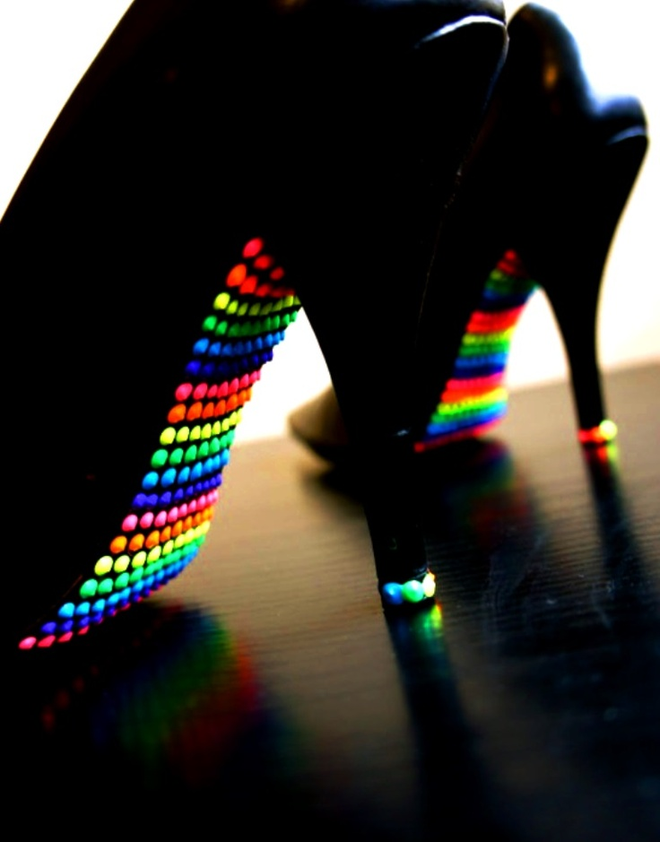 Rainbow colors ❖de l'arc-en-ciel❖❶Toni Kami Colorful neon high heels