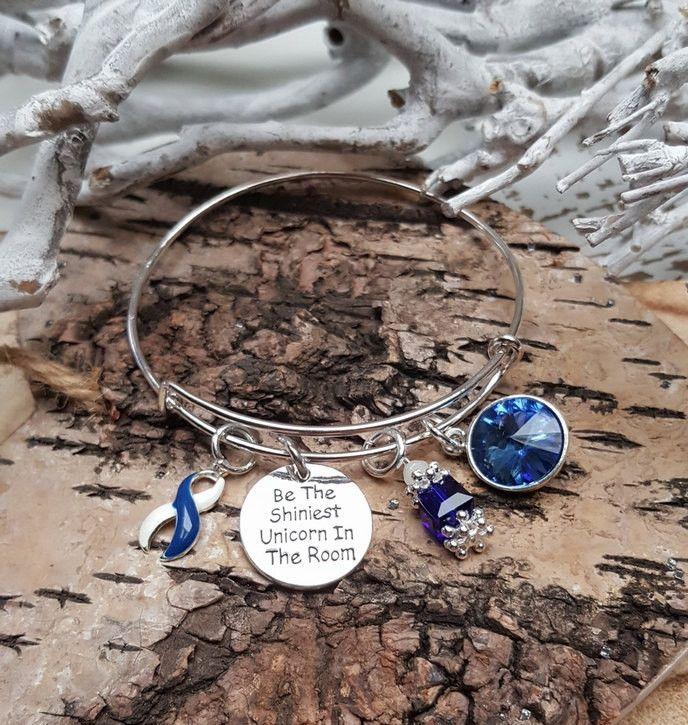 BLW-4 Unicorn Jewelry December Birthstone Charm / ALS Awareness Jewelry Unicorn Bracelet Gift For Her / Lou Gehrigs Disease