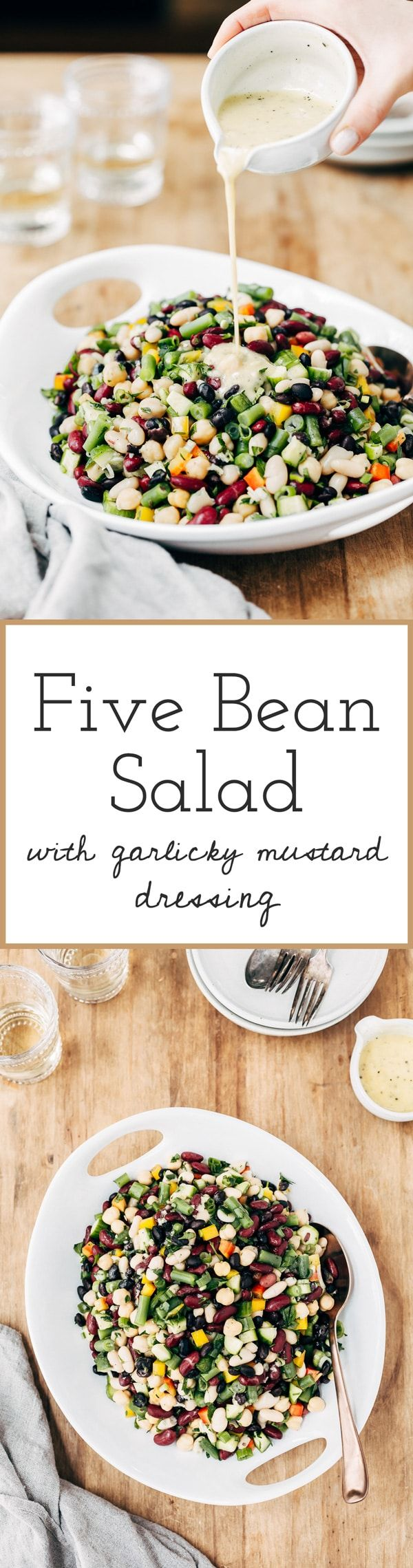 Whether it is for picnic, super bowl party, or a potluck gathering, this #fivebeansalad with 2 different dressing options is guaranteed to impress.