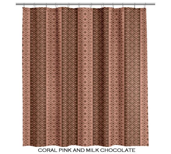 Moroccan Pink and Brown Shower Curtain   (107)