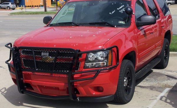 Ranch Hand Legend Grille Guard on Red Chevrolet Tahoe