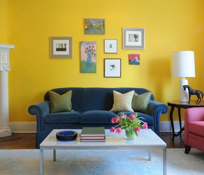 Farbgestaltung Wohnzimmer Gelbes Farbige Wohnzimmermbel Weisser Teppich