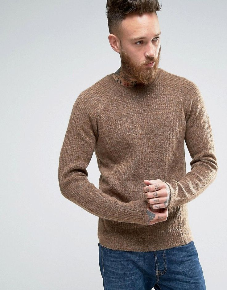 ASOS Textured Knit Sweater with Clean Edges - Brown