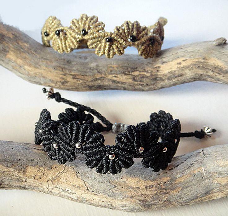 Macrame Bracelets. Flower Design.  Antique gold & Black Bracelets.  Boho Asian Oriental. Size adjustable with slip knot. Price for one. Gift by NarimCrafts on Etsy