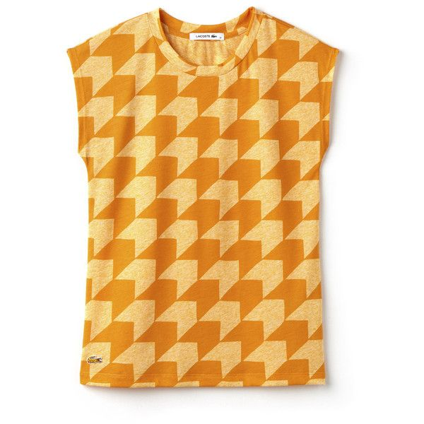 Orange Women's Crew Neck T-Shirt in Gingham Jersey ($69) ❤ liked on Polyvore featuring tops, t-shirts, striped t shirt, crew t shirts, striped crew neck tee, lacoste tee and lacoste t shirt