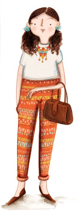 Kristyna Litten. Woman with jazzy trousers