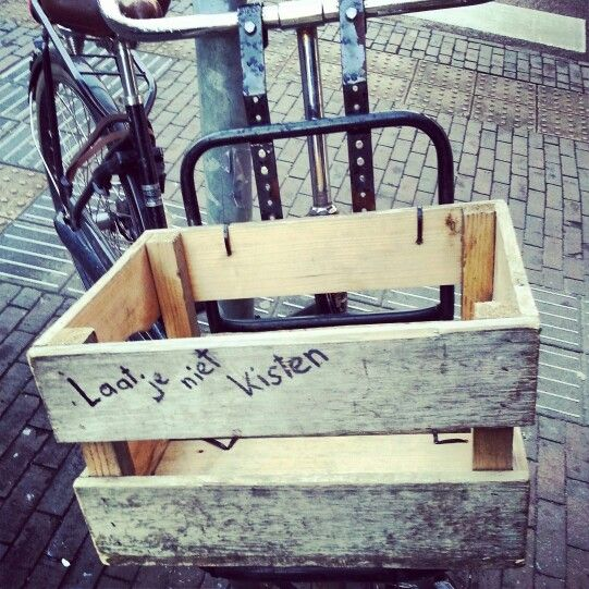 Cargo bikes with wooden crates. Typically Dutch. #greetingsfromnl
