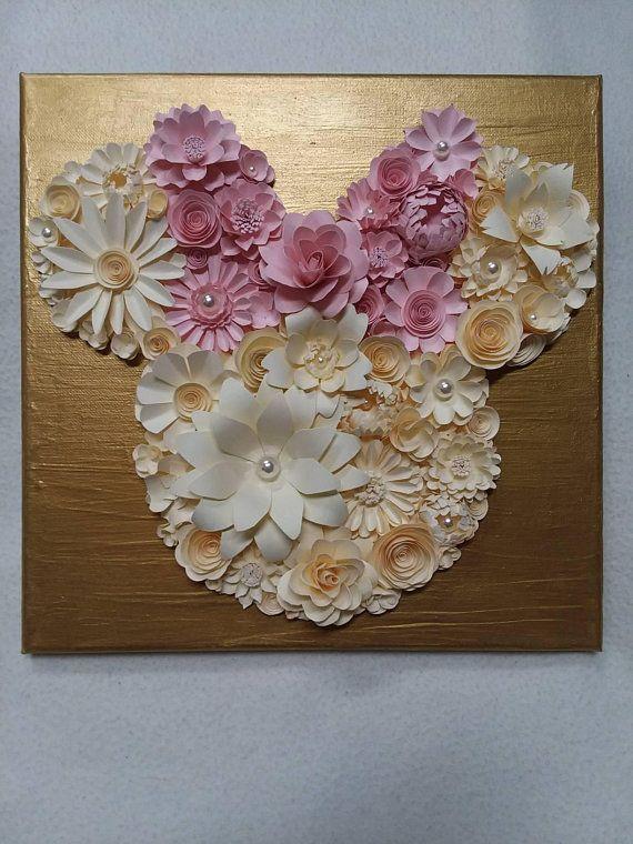 Mouse Head With Bow Handmade Paper Flower Canvas Nursery Decor
