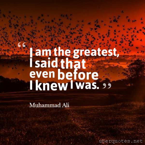 I am the greatest, I said that even before I knew I was. -Muhammad Ali  #quotes #Greatest #IAm #Said #Am #Before #Knew #Even  For #MuhammadAli quotes visit: http://www.uberquotes.net/quotes/authors/muhammad-ali For #Great quotes visit: http://www.uberquotes.net/quotes/topics/great