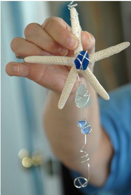 starfish/sea glass window hangersSea Stars, Starfish Sea Glasses, Glasses Ornaments, Crafts Ideas, Beach Glasses, Sun Catcher, Crafts Wire, Glasses Windows, Seaglass