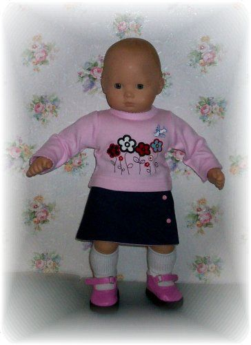 Doll clothes. Wrap around skirt, flower power tshirt, knee socks and platform mary janes for Bitty Baby..
