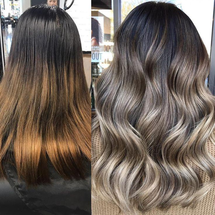 Smoky Ash-Blonde Balayage/Color Melt for Lusciously Wavy Black-Brown Hair