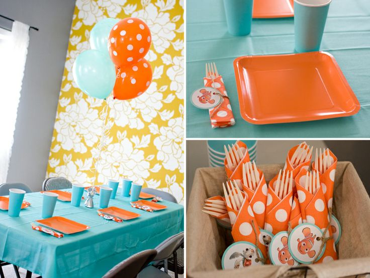 nemo party- colors will work for our Jonah and the whale party too!