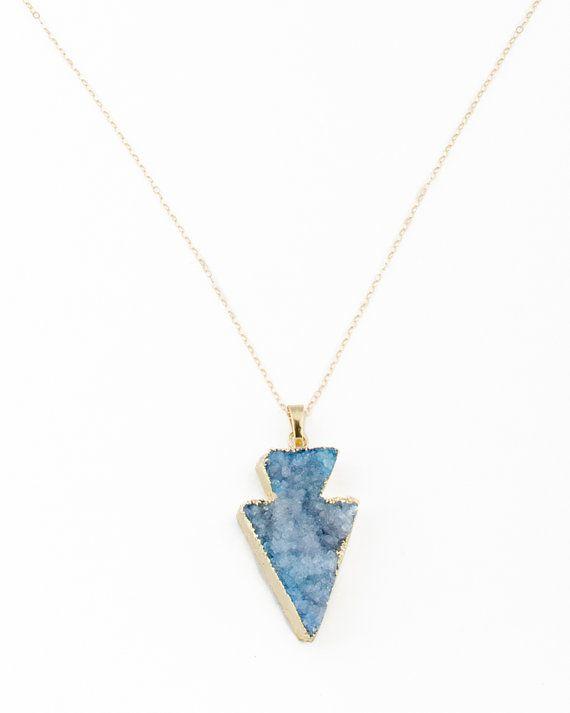 Long Arrow Necklace Arrowhead Necklace Raw Stone Necklace
