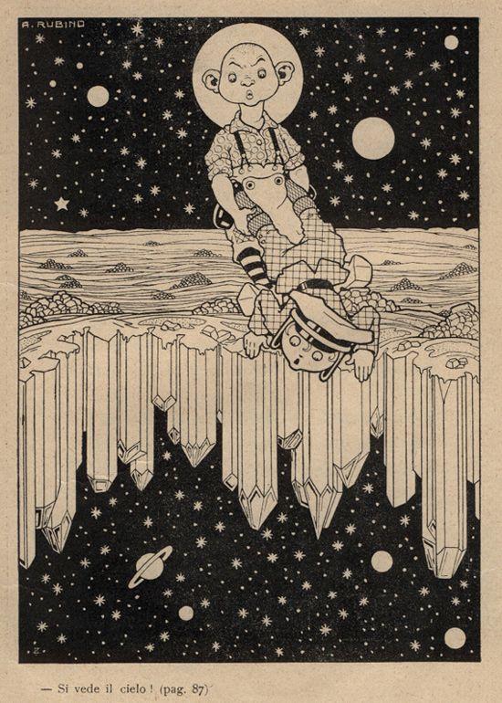 "(one of my ""Goodnight"" post on Facebook ~P.H).......Antonio Rubino, illus. for Pippo Sizza Aviatore by Giuseppe Fanciulli (1910)s"