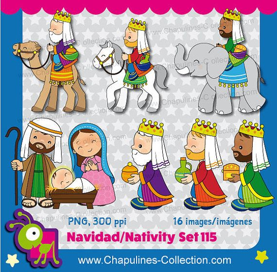Clipart de Navidad combo a color y en por ChapulinesCollection