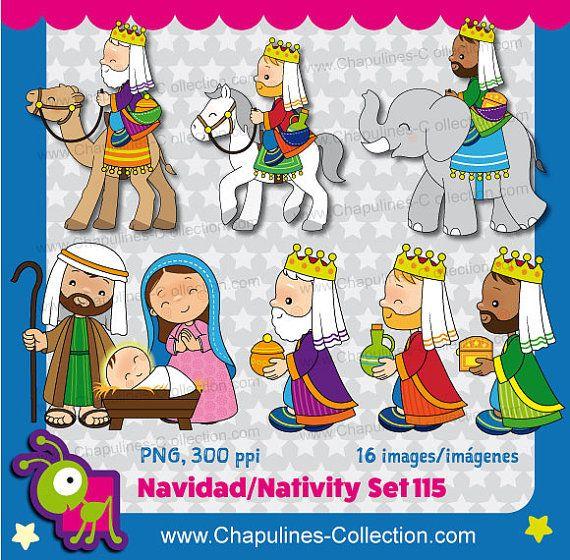 Clipart de Navidad combo a color y en por ChapulinesCollection