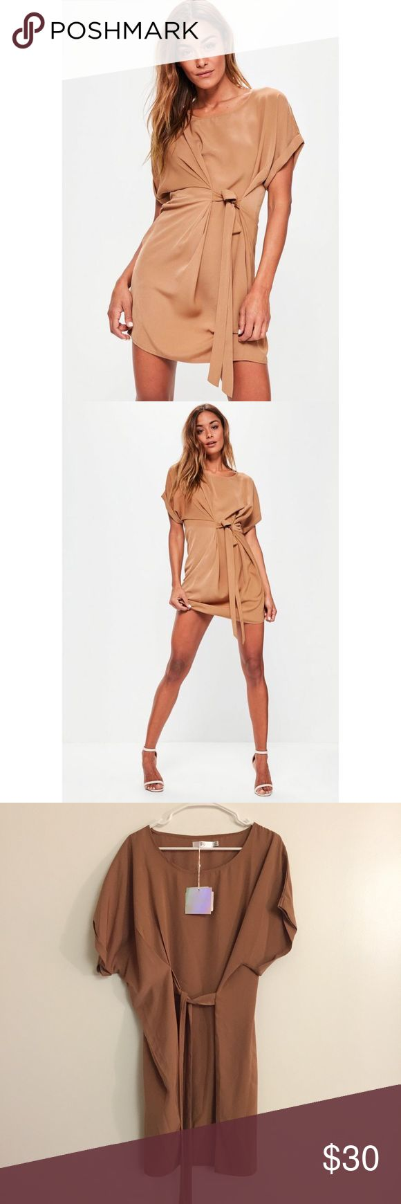 Missguided Tie Waist Folded Sleeve Shift Dress Original Price: $45 US size 12, UK size 16 Nude/camel color short sleeve tie waist folded sleeves dress Missguided Dresses Mini