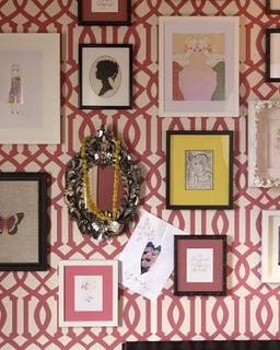 Love this wallpaper!: Interior, Ideas, Trellis Wallpaper, Frames, Wallpapers, Imperial Trellis, Www Elouise Com Au, Gallery Wall, Room