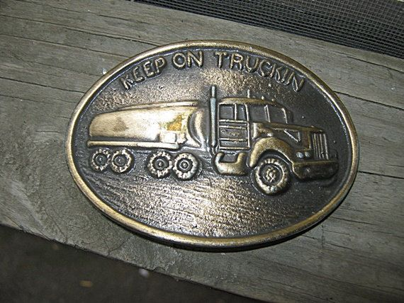 """Brass Belt Buckle, """"Keep On Truckin"""", Oval, Buckle With Truck, Collectible Buckle, by Junkblossoms on Etsy"""