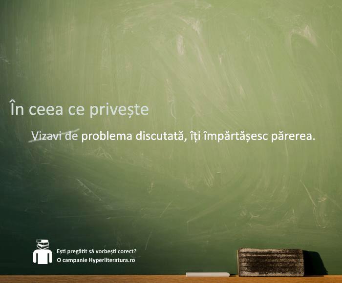 """Cuvântul """"vizavi"""" - preluat și adaptat din limba franceză (""""vis-à-vis"""") după principiul fonologic - apare în dicționare cu sensul de spațiu.  Astfel, putem spune """"vizavi de intrarea în clădire"""" sau """"vizavi de școală"""", însă este folosit greșit în situații ca """"vizavi de părerea medicului"""" sau """"vizavi de această problemă"""", cazuri în care """"vizavi"""" ar trebui înlocuit cu """"față de"""", """"în privința"""" sau """"în ceea ce privește""""."""