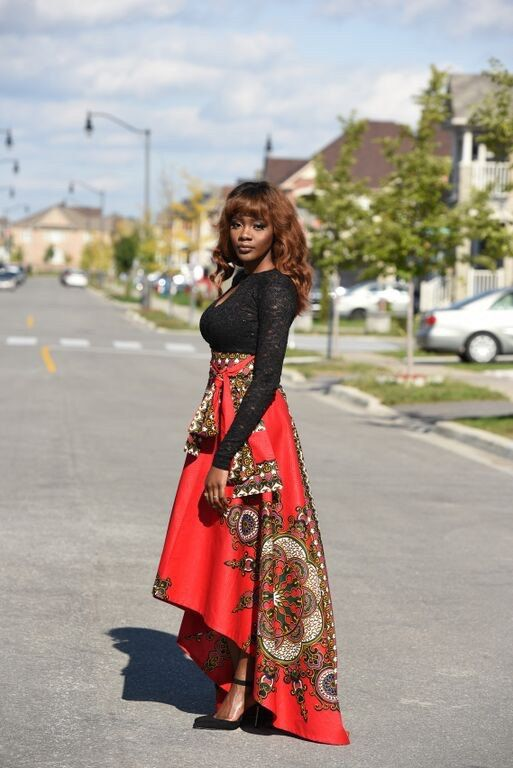 Limited Quantity. African print Royal skirt Full A-line skirt. High low skirt can fit into any occasion. Front length -28 Back length - 44 model Is 5.8
