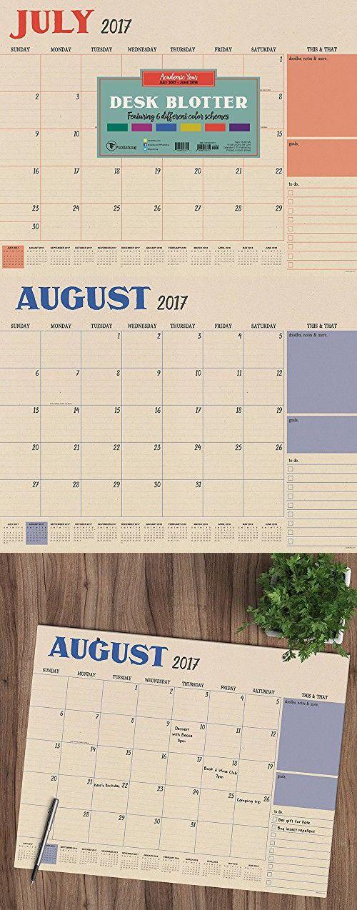 2018 Academic Colorful Kraft Desk Blotter July 2017-June 2018