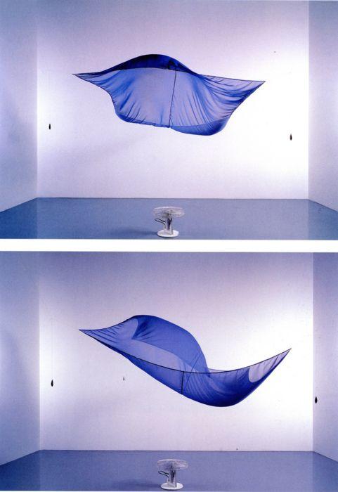 Blue Sail (1964-1965), a blue chiffon sheet blown by a fan, by Hans Haacke: