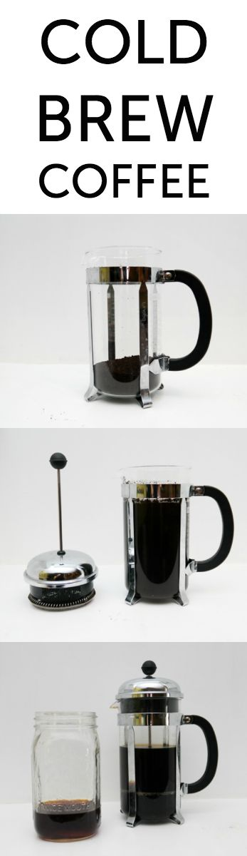 How to make perfect cold brew coffee overnight. You just need coffee, water and a french press. No french press? Steep in any glass container and strain through a fine-mesh sieve.