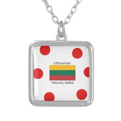 Lithuania Flag And Lithuanian Language Design Silver Plated Necklace - jewelry jewellery unique special diy gift present
