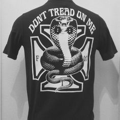 Don't Tread On Me Cobra tees from KILLSCUMSPEEDCULT.COM tags traditional, tattoo, ink, flash, art, sailor, jerry, sheet, killscumspeedcult bornfree7 vintage retro chopper clothing gear biker rocker rock n roll punk metal gloves boots shoes jeans pants shirts tee hat cap trucker goggles sunglasses sicker decal pin badge embroidered patch patches harley leather denim sportster ironhead flathead panhead shovelehead