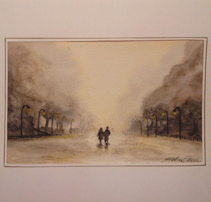 Elettra Tomei - acquerello innamorati/paesaggio
