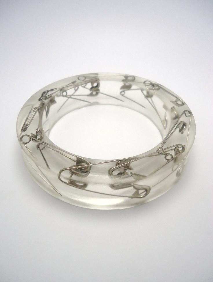 Resin Bangle Bracelet Open Safety Pins. $15.99, via Etsy.