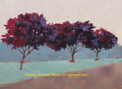 Three trees such a deep shade of red that they become purple... oil painting by Kristina Laurendi Havens