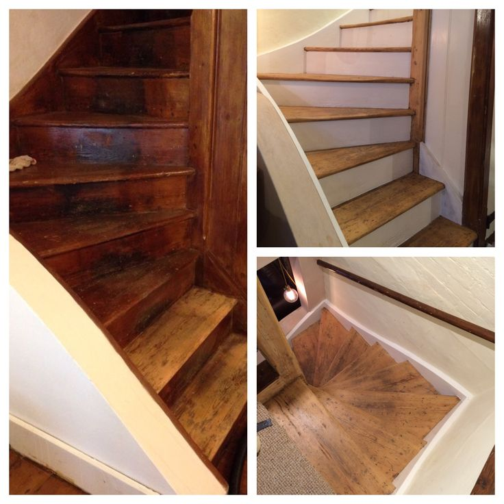 Stairs before and after. Old varnish stripped off, sanded and waxed.