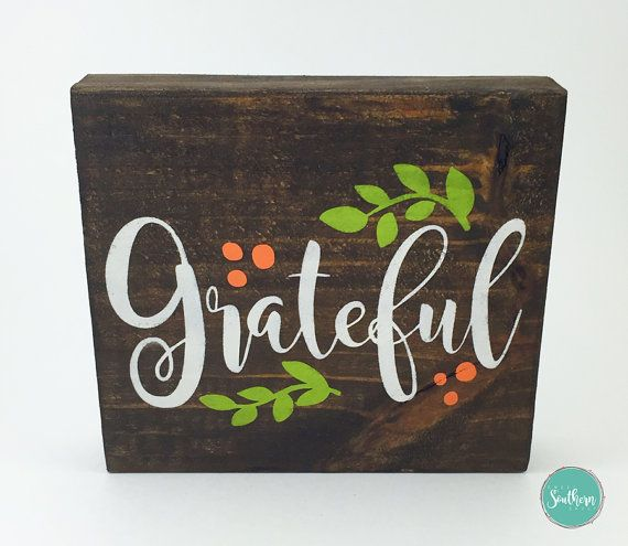 Fall Block Sign - Grateful Sign, Fall Decor,  Autumn Decor, Thanksgiving Sign…