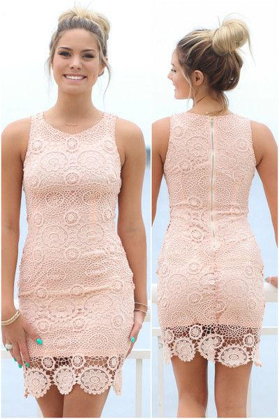 Sleeveless peach crochet dress with back zipper closure. Material is polyester Lined Model Ali is 5'9 wearing size small Bust Length Slip width Slip Length Sma