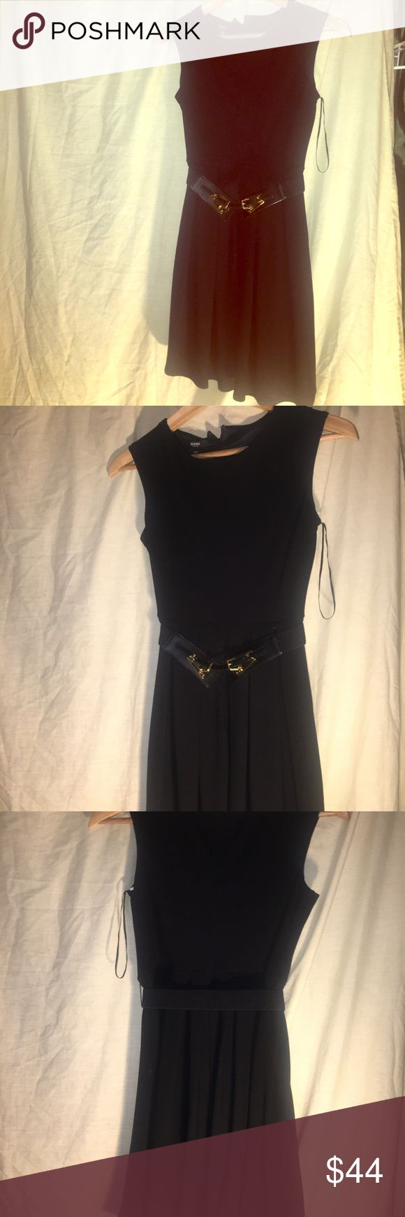 Alfani Black Autumn blush PET Dress Alfani Black Autumn blush PET Dress with black with gold belt buckles that latches around the waist. Deep black petite dress from Macy's. NWT. Open to trades. Please bundle you likes so I can make you an offer. Or feel free to make me an offer as well. ✌️✌️✌️ fashionistas Alfani Dresses Midi