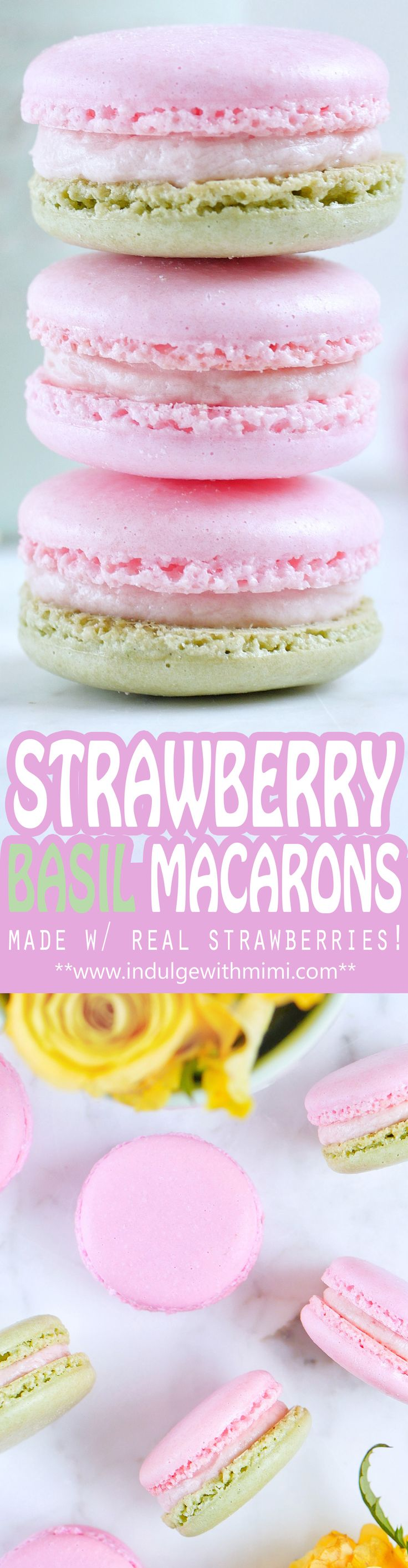Strawberry Basil Macaron Recipe by adding REAL strawberries to a Swiss Buttercream while keeping it sturdy and not too moist for use as a macaron filling. Includes strawberry macaron template & video.