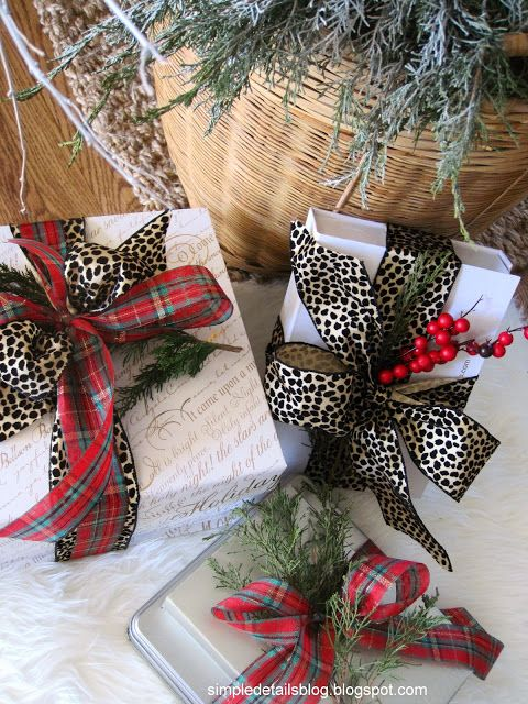 Leopard & Plaid ribbon with evergreen sprigs - Christmas 2013 Home Tour  Simple Details