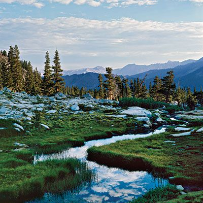 Sequoia National Park. You can backpack to camp here ($15 wilderness permit required; purchase at Mineral King Ranger Station), camp at nearby Cold Springs or Atwell Mill campgrounds, or stay at the rustic cabins of Silver City Mountain Resort on Mineral King Road.