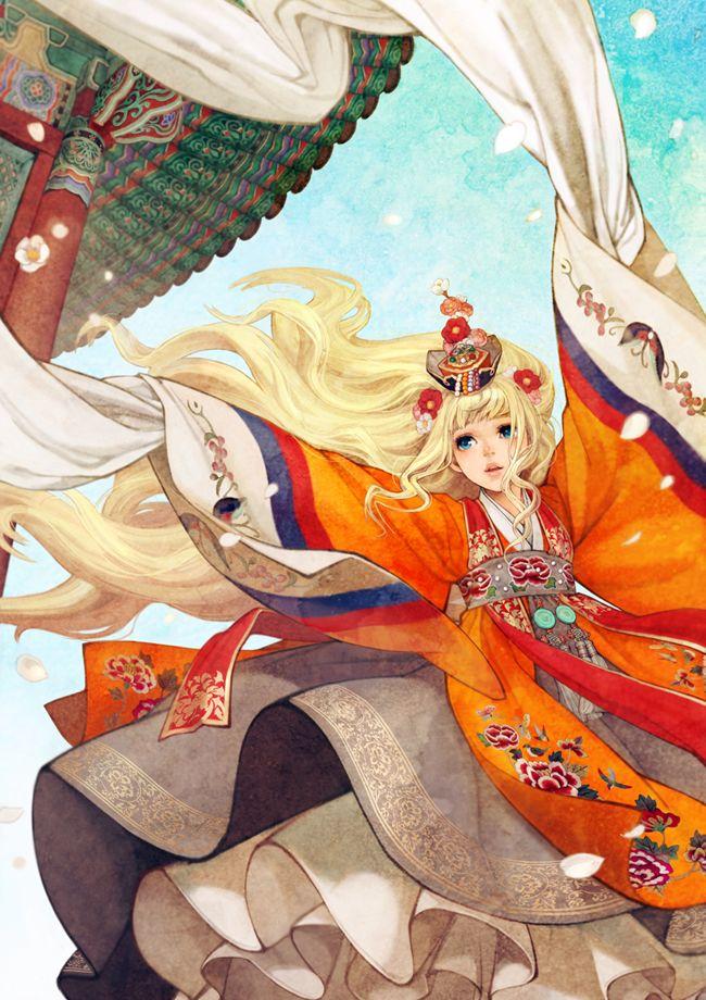 """Korean Dance"", South Korean illustrator Obsidian, also known as Huk-yo-suk (""Naoyoung Wooh"" aka ""Obsidian"").  https://twitter.com/00obsidian00/media"