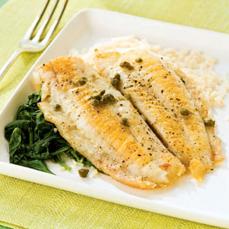 Flounder Piccata with Spinach Recipe Main Dishes with long-grain rice, salt, black pepper, flounder fillets, all-purpose flour, olive oil, dry white wine, fresh lemon juice, capers, butter, baby spinach