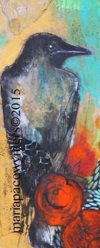 Black Crow -- Maria Pace-Wynters = 2015-04-11 8 in X 8 in (20.3 cm X 20.3 cm) Mixed Media