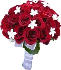 Would be pretty with black roses & a few red ones with it.    You don't really know how will look like your bridal bouquet?    The red bouquet is in perfect contrast...