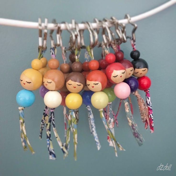 Handpainted wooden bead doll ~ Liberty London and Lecien fabric keyrings
